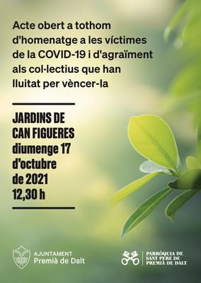 Acte públic d'homenatge a les víctimes de la Covid-19 i d'agraïment als col·lectius que la combaten