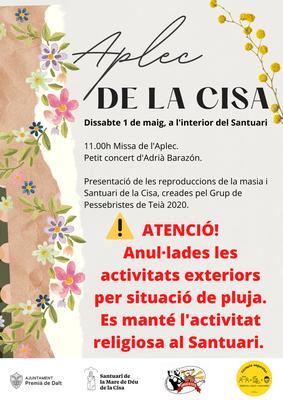 Anul·lades les activitats exteriors de l'Aplec de la Cisa