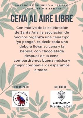 Commemoració de Santa Anna: sopar a l'aire lliure