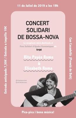 Concert solidari de Bossa-Nova: Rita Payés Roma & Elisabeth Roma