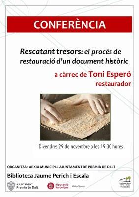 Conferència: 'Rescatant tresors; el procés de restauració d'un document històric'