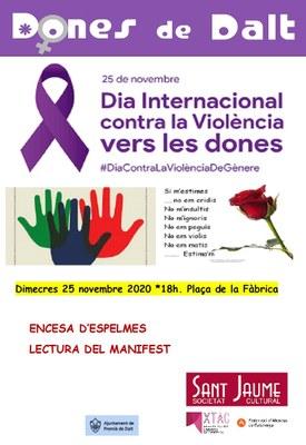Dones de Dalt commemora el 25N: encesa d'espelmes i lectura del manifest