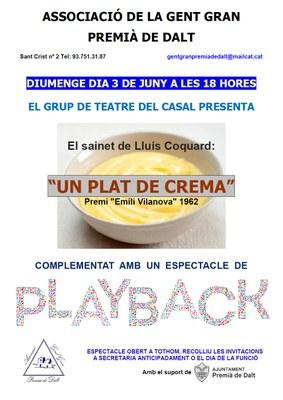 """El sainet de Lluís Coquard: """"Un plat de crema"""", complementat amb un espectacle de playback"""