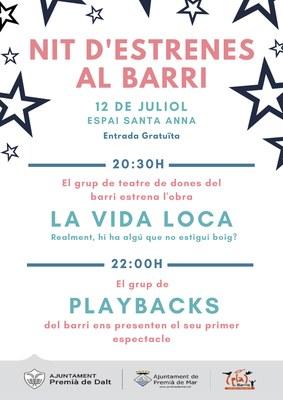 """Estrena de l'obra """"Hablando la vida pasa"""" a càrrec del grup de Teatre de Dones del Barri i de l'espectacle de playbacks a càrrec del Grup de Playbacks del Barri"""