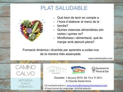 Formació: Plat saludable, a càrrec de la metgessa i coach Camino Calvo