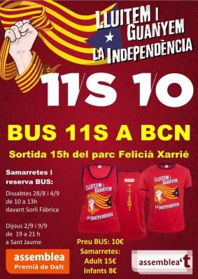 Lluitem i guanyem la independència: bus i samarretes per a la Diada