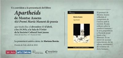 """Presentació del llibre """"Apartheids"""" guanyador del 41è Premi Marià Manent, obra de Montse Assens"""
