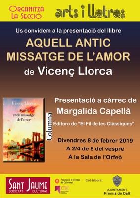 Presentació del llibre de Vicenç Llorca 'Aquell antic missatge de l'amor'