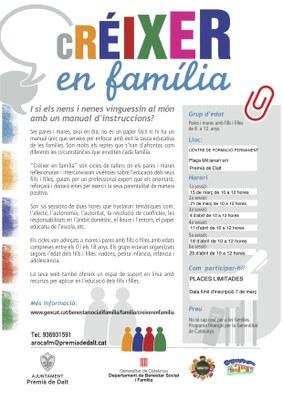 """Taller """"Créixer en família"""" per a mares i pares amb fills/es de 6 a 12 anys"""