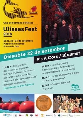 Ulisses Fest 2018: mostra gastronòmica, teatre musical amb 9's A Cors i concert de Blaumut