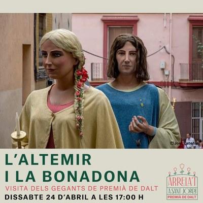 Visita dels Gegants de Premià de Dalt, l'Altemir i la Bonadona