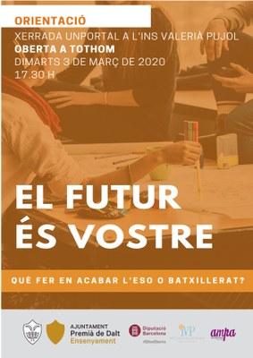 Xerrada d'orientació amb UNPORTAL: El futur és vostre. Què fer en acabar l'ESO o el batxillerat?