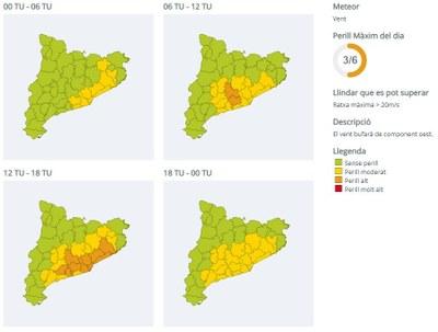 Activada l'Alerta del pla VENTCAT de Protecció Civil per fort vent