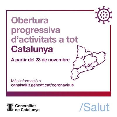 Comença l'obertura progressiva d'activitats el 23 de novembre