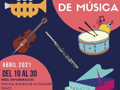 Del 19 al 30 d'abril de 2021, preinscripcions a l'Escola Municipal de Música