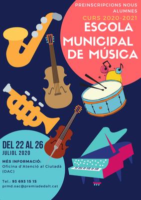 Del 22 al 26 de juliol de 2020, preinscripcions per al nou alumnat de l'Escola Municipal de Música