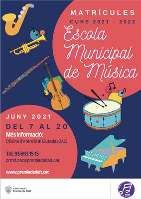 Del 7 al 20 de juny us podeu matricular a l'Escola Municipal de Música
