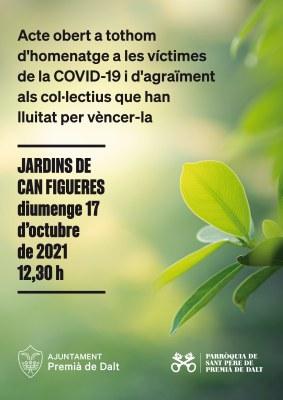 Diumenge 17 d'octubre s'organitza un acte públic en record a les víctimes de la Covid-19 a Premià de Dalt