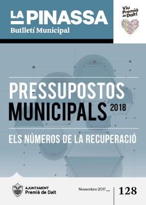 El Pressupost Municipal per al 2018, portada de la revista de novembre