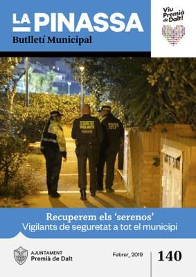 El reforç de la seguretat amb la recuperació del 'sereno' del s. XXI, portada de 'La Pinassa' de febrer