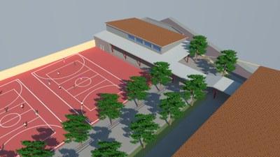 En marxa les obres de construcció de la sala polivalent/gimnàs a l'Escola Santa Anna