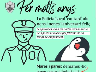 La Policia Local impulsa una iniciativa per celebrar els aniversaris dels més petits durant el confinament
