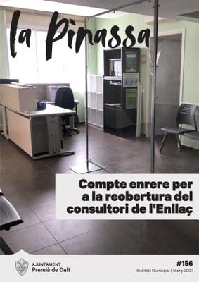 La reobertura imminent del consultori mèdic de l'Enllaç, portada de 'La Pinassa 156'