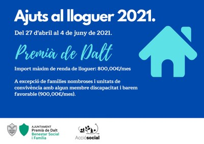 Oberta la convocatòria d'ajuts al pagament del lloguer 2021 (Ajut MITMA)