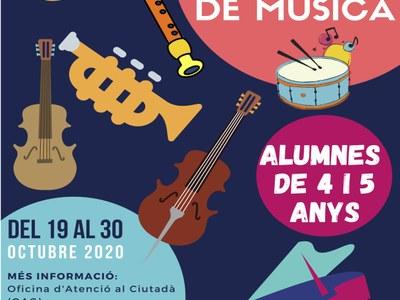 Obertes les preinscripcions a l'Escola Municipal de Música pels alumnes de 4 i 5 anys