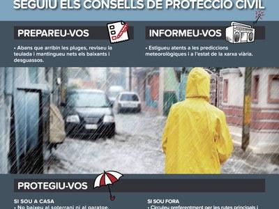 Precaució davant la previsió de pluja molt abundant