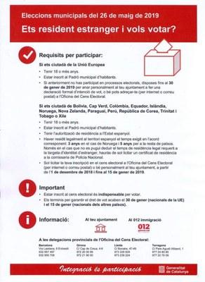 Si ets resident estranger i vols votar a les municipals, inscriu-te al cens electoral!